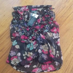 Ralph Lauren Ruffled Button Down Floral Blouse